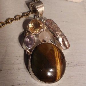 Jewelry - Multi gemstone Sterling silver pendant. Amethyst